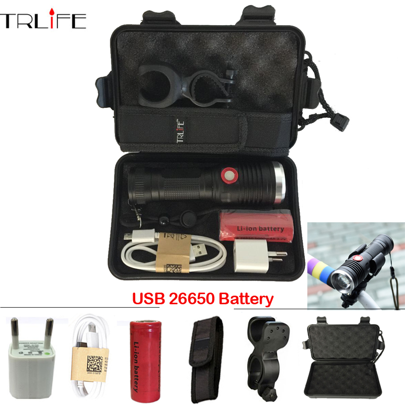 USB LED Tactical Flashlight CREE XML T6/L2 Flashlight 8000LM 26650 Battery Torch Power bicycle FlashLight Camping with USB Cable ...