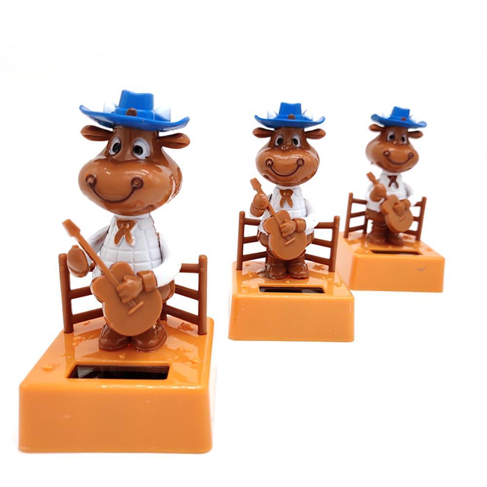 Креативный автомобильный Декор на солнечных батареях Танцующая кукла-животное качающаяся анимированная качающаяся Танцующая игрушка Подарки-крупный рогатый скот