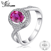 JewelryPalace Classic 1 8ct Oval Created Pink Sapphire Halo Promise Ring 925 Sterling Silver Jewelry New