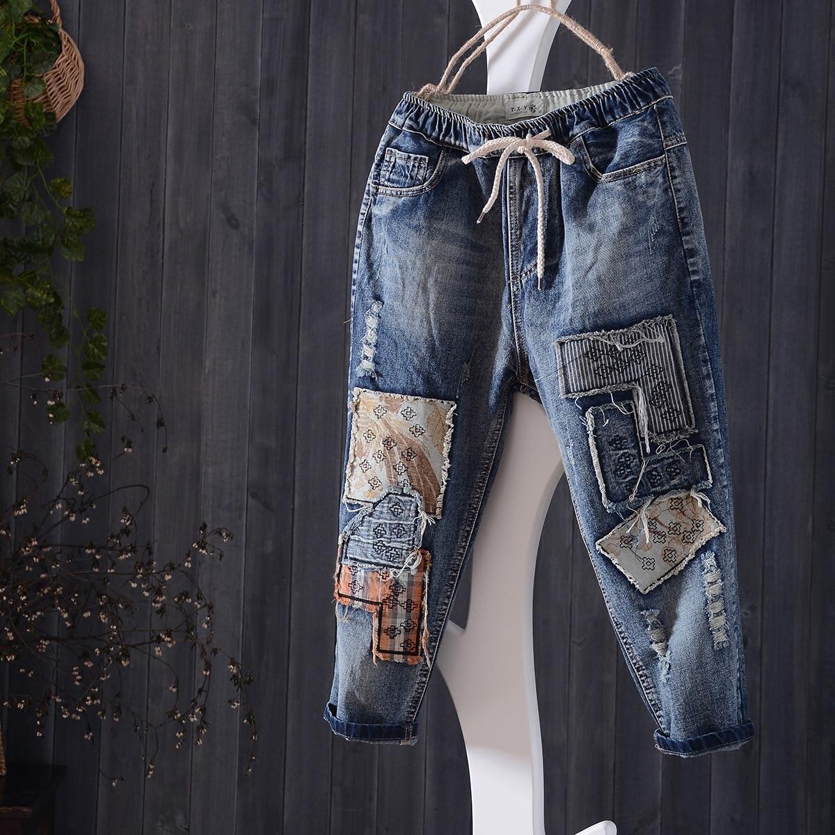 Women Summer Retro Elastic Waist Jeans Loose High Quality Embroidery Slim-type Denim Trousers 2017 Female New Denim Pants Ripped