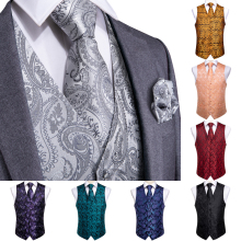 DiBanGu Top 9 styles Vest for Men Silver Red Orange Blue Mens Suit Business Wedding Party Occasion Hanky Cufflinks Vests