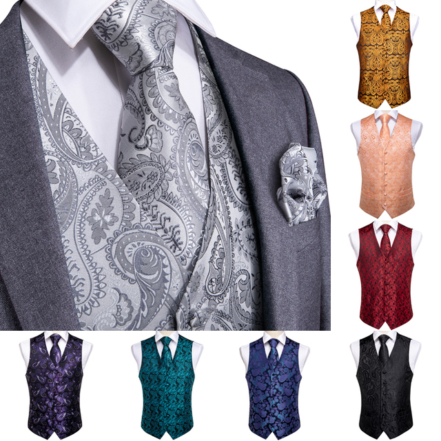 DiBanGu Top 9 styles Vest for Men Silver Red Orange Blue Mens Vest Suit Business Wedding Party Occasion Hanky Cufflinks Vests