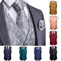 DiBanGu Top 9 styles Vest for Men Silver Red Orange Blue Men's Vest Suit Business Wedding Party Occasion Hanky Cufflinks Vests