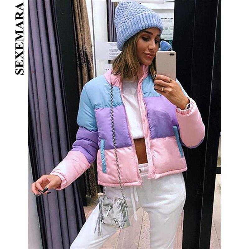 SEXEMARA Rainbow Color Block Winter Jacket Women Fashion Warm   Parkas   Female Coats Winter 2018 Outwear Bubble Coat C54-BD15
