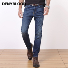 Denyblood Jeans Plus Size 28-42 Mens Classic Jeans Stretch Denim Slim Straight Casual Pants Stonewashed Male Trousers 8101