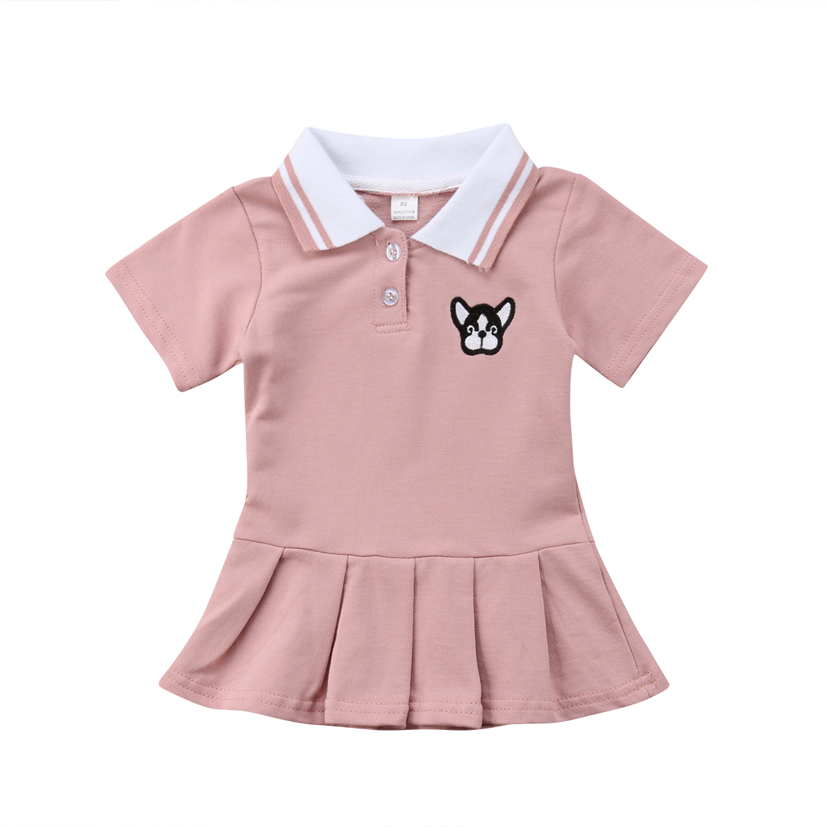 Kids Baby Girl Dress Cute New Summer Party Tutus Short Sleeve Embroidery Pleated Turn-down Collar Sundress Cartoon Dog Dresses lovely toddler kids baby girl summer dress bunny ear short sleeve hooded outfit one pieces princess children dresses sundress