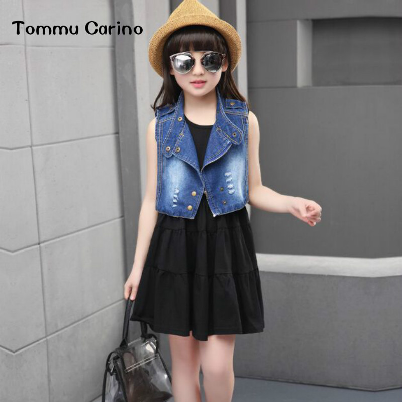 ФОТО Tommu Carino Brand New Arrivals 2 Pieces Sweet Dress Denim Vest Jacket Sets Fashion Children Kids Baby Girl summer clothes