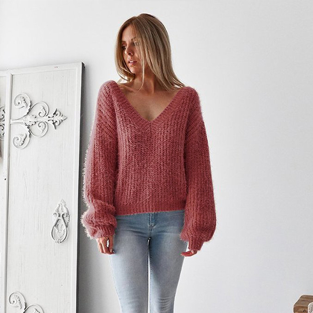 Casual Knitted Sweater, Women's 2019 Cotton V-neck, Solid Loose, Long Sleeve, Backless Sweater 3