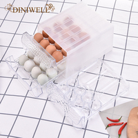 DINIWELL Transparent Plastic Egg Storage Box Drawer Type Egg Organizer For Kitchen Refrigerator Anti collision Egg Container