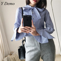 New Ruffle Sleeve Stripes Bow Pearl Button Fashion Shirts 2018 Spring Clothing