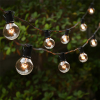 25 Clear Globe Bulbs UL G40 String Lights Listed For Indoor Outdoor Commercial Use Vintage Backyard