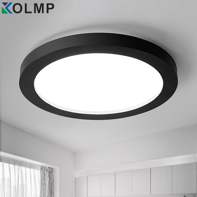 dimmable moderne led plafonnier rond noir blanc logement surface mont plafond lampe pour hall d. Black Bedroom Furniture Sets. Home Design Ideas