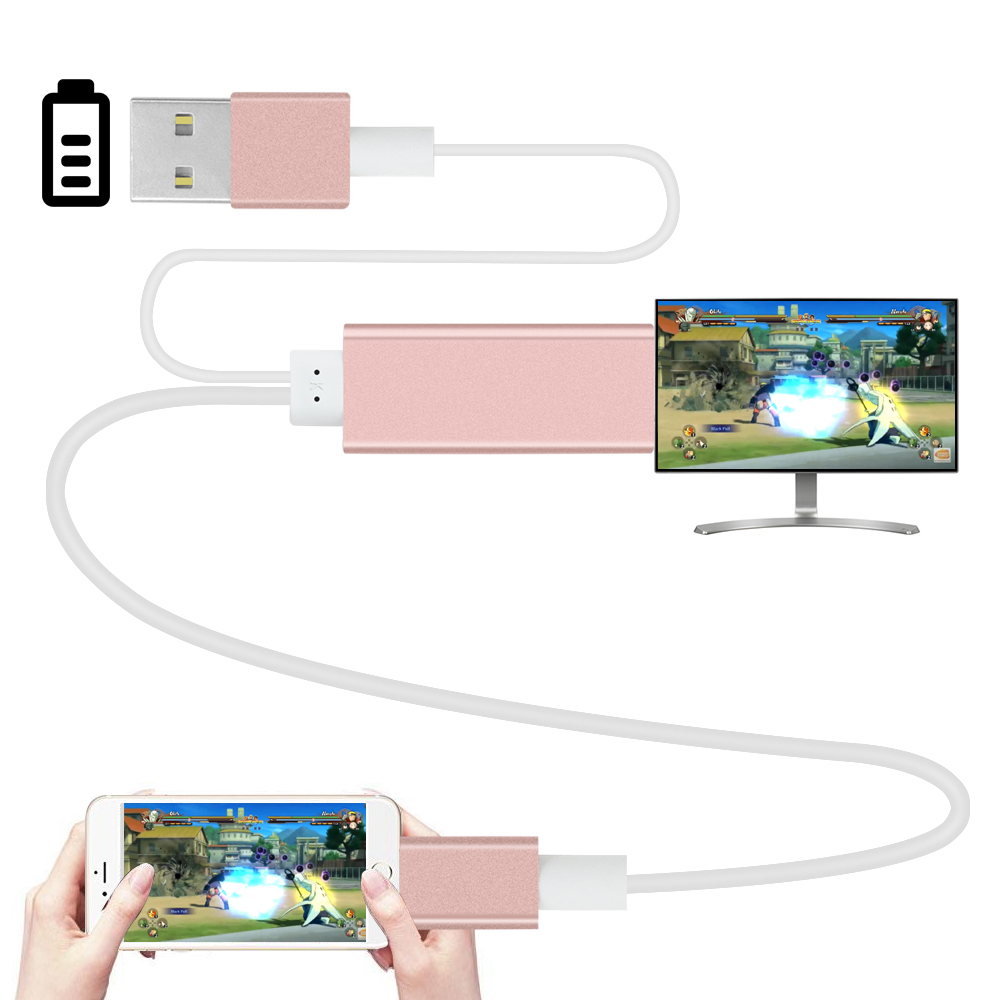 iphone to tv hdmi cable 2m hdmi hdtv adapter av usb cable for lightning usb to 4684