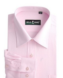 The groom married shirt male long-sleeve shirt pink stripe shirt permanent press