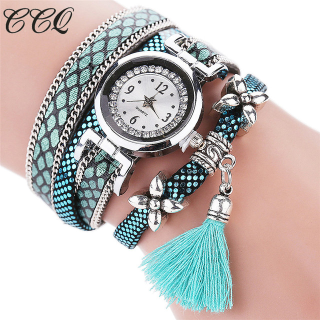CCQ Fashion Women Bracelet Watch Silver Original Design Tassel Pendant Wristwatc