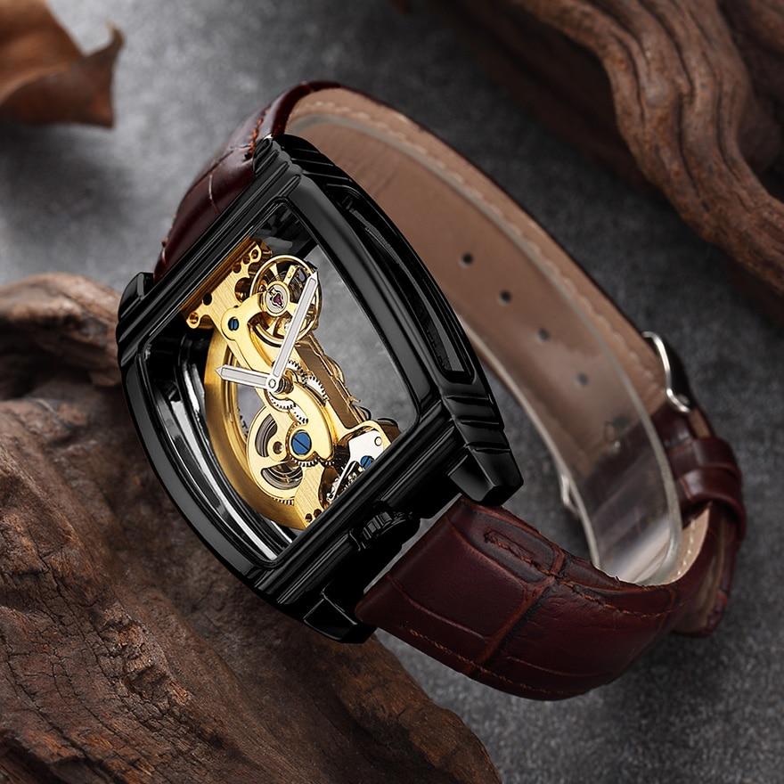 HTB1P9ATSwHqK1RjSZJnq6zNLpXa7 Transparent Automatic Mechanical Watch Men Steampunk Skeleton Luxury Gear Self Winding Leather Men's Clock Watches montre homme