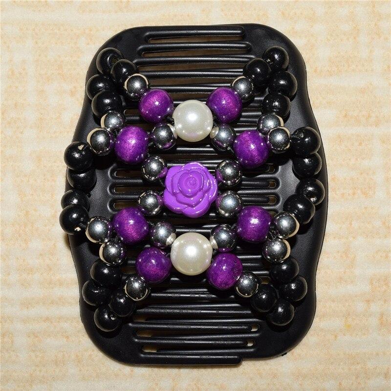 Noir Fleur Perles Magique Peigne 100 Pcs Lot Facile Chignon Special