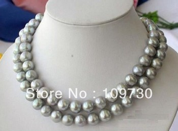 """Jewelry 001491 Real Natural 10-11mm South Sea Gray Pearl Necklace 35"""" 14KGP Clasp"""