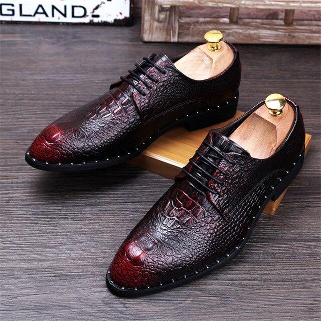Men's Crocodile Dress Leather Shoes Lace-Up Wedding 3