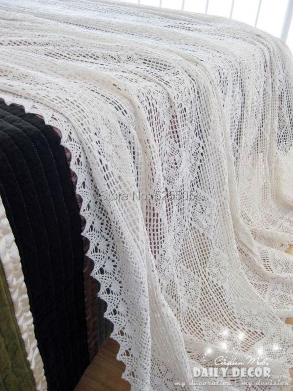 €91 26 |3 pcs/lot! 100% beige coton fait à la main crochet couvre  lit/drap/couvre lit/combinaison/combinaison + 2 taies d'oreiller/taies  d'oreiller-in
