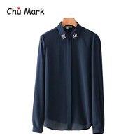 Chu Mark Women Elegant Diamond Decorate Chiffon Shirt Pleated Loose Blouse Lady Office Wear Oversized Tops