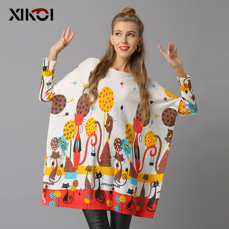 XIKOI Woman Sweater Pullovers Plus Size Pullovers O-Neck Knitted Casual Regular Cat Print Pull Femme Winter Female Jumper 2018