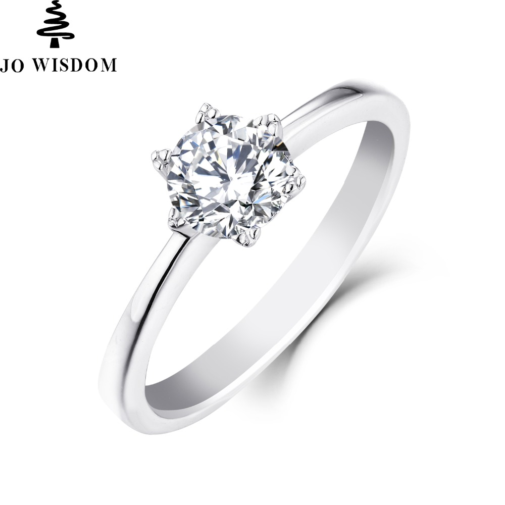 JO WISDOM Classic 14K Gold with 0.8 Ct Natural Moissanite Wedding Rings for Lovers Romen ...