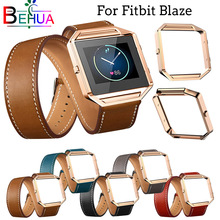 цены New Superior Long Leather Double Ring Watch band + frame For Fitbit Blaze Smart Watch Replacement High quality strap Accessories