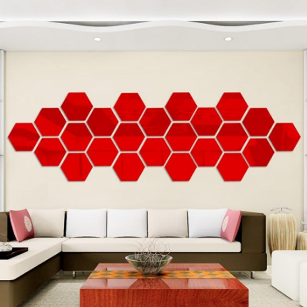1 Pc Scatola Esagonale Carattere Stereoscopico Specchio Decorativo Wall Stickers Living Room Decor