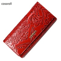 Cossroll Famous Brand Women Wallets Leather Purse Luxury Brand Womens Wallet Long Ladies Coin Purses With