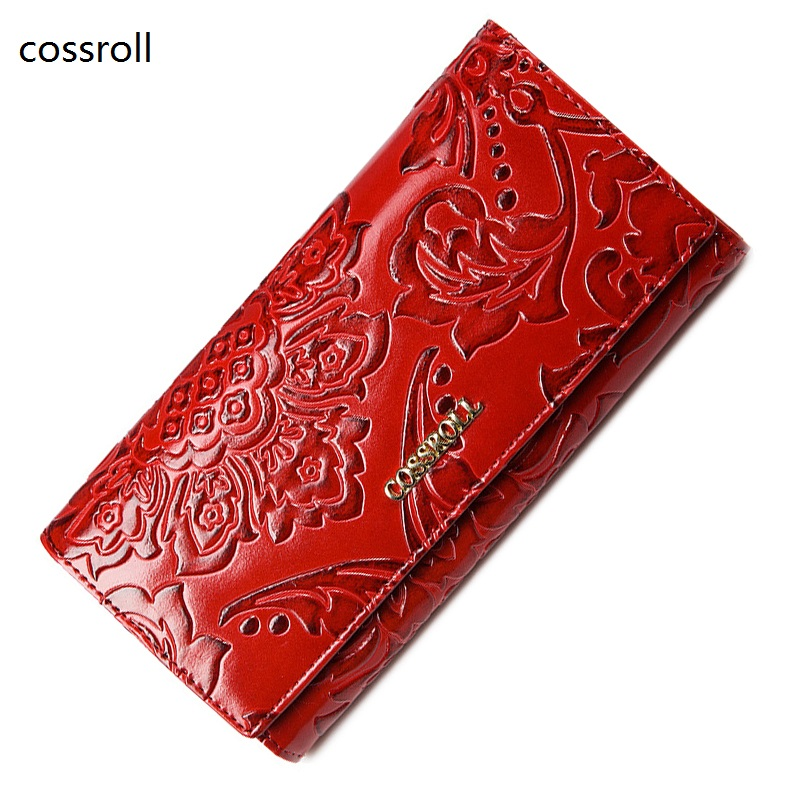 cossroll famous brand women wallets leather purse luxury brand womens wallet long ladies coin purses with floral pattern womens wallets and purses famous 2016 fashion money clip wallet women luxury brand matte stitching long clutch free shipping