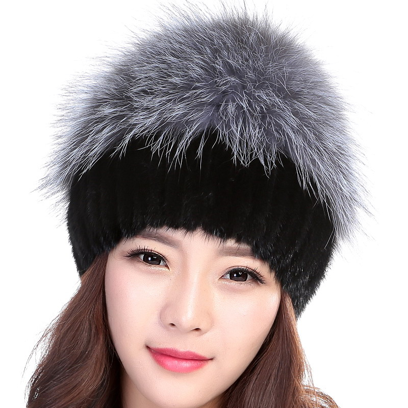 73ff7b9e40adb Wholesale Women Winter Hat Female Real Knitted Mink Fur Hat Elasticity with  Silver Fox Fashion Hat Brand Autumn Warm Black Hat-in Skullies   Beanies  from ...
