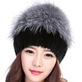 Wholesale Women Winter Hat Female Real Knitted Mink Fur Hat Elasticity with Silver Fox Fashion Hat Brand Autumn Warm Black Hat