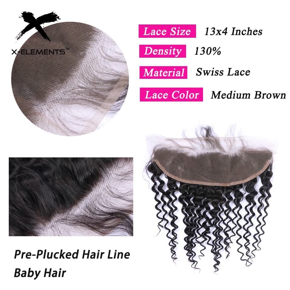 X-Elements Brazilian Deep Wave Frontal 100% Human Hair 13x4 Lace Frontal Deep Wave Non-Remy Natural Color Hand Tied Lace Frontal (3)