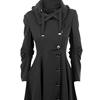 2017 moda długi średniowieczny Trench wełniany płaszcz kobiety zima czarny stoisko kołnierz Gothic płaszcz eleganckie kobiety płaszcz Vintage Kobieta