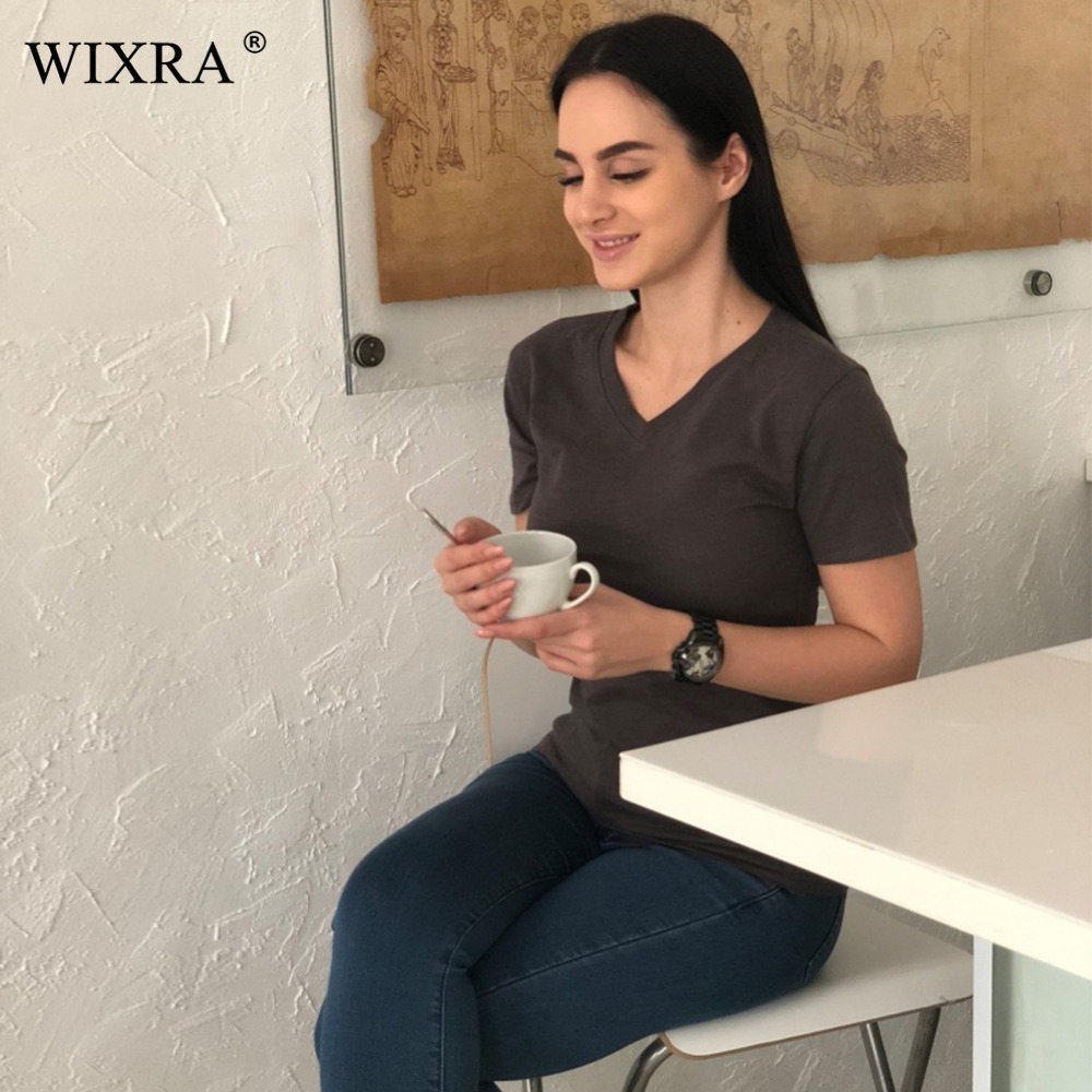 Wixra Basic T shirt Women Cotton V neck T-shirts Female Casual Tops...