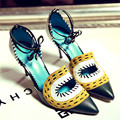 Women's Sexy Thin High Heel Pointed Toe Pumps Ankle Lace-up Eyes Shape Design Ladies Elegant Heeled Shoes for Women High Heels