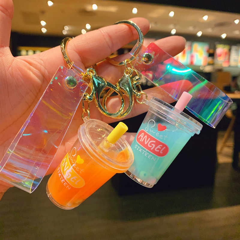 Creative Funny Soft Drink Key Chains Resin Interesting Tapioca tea Beverage Bubble Tea Moving Liquid oil Release Jewelry