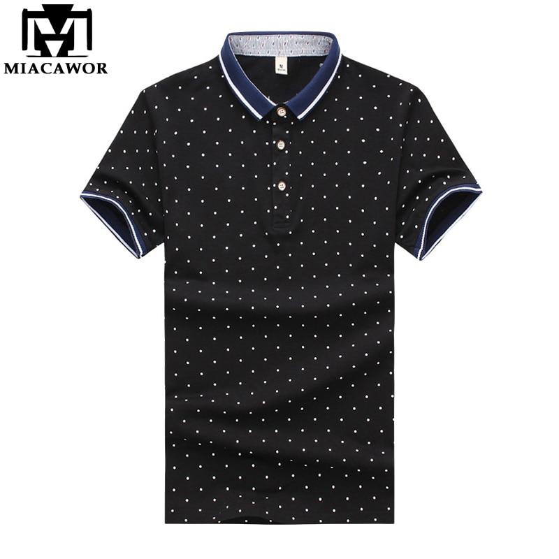 MIACAWOR New Men   Polo   shirts Fashion Polka Dot Print Short-sleeve Men Slim Fit Summer Camisas Men Clothing MT625