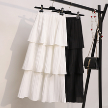 цена на Women Cake Skirt 2020 New Sweet Fresh Solid Color Layers Frill Pleated Skirt Female High Waist Long Chiffon Skirt White Z8