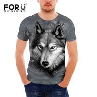 FORUDESIGNS Mens T Shirts Cool 3D Wolf T Shirt For Men Summer Casual Short Sleeve Brand