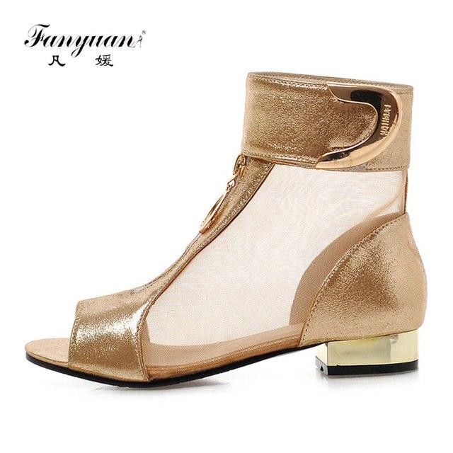 Fanyuan Piatto Stivali Estivi Roma Delle Donne Chiare Stivali Oro Nero Sexy Peep Toe Ankle Boots Donne di Estate Scarpe botas mujer Size 34-43