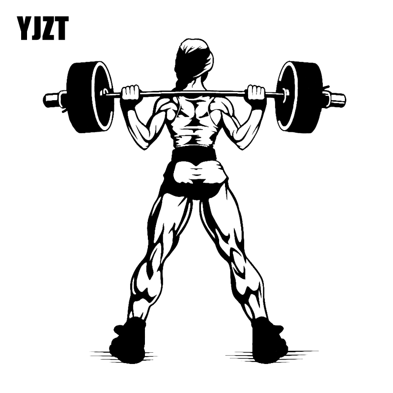 YJZT 14.2*15.2CM Fashion Dumbbell Sports Muscle Fitness Car Stickers Silhouette Black Silver Vinyl Accessories C12-0878
