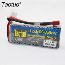 Taotuo poder lipo batería 11.1 v 1500 mah 3 s 40c max 60c t enchufe para el coche de rc helicóptero avión drone batería partes