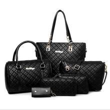 Worthfind 6 unids/set mujeres bolsa de cuero de la pu compuesto bolsa de hombro bolso monedero de la cartera bolso de las mujeres