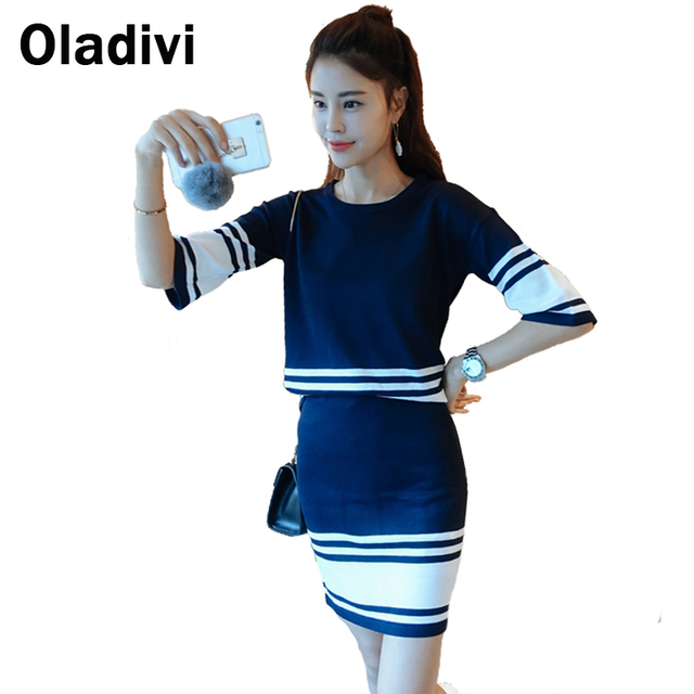 2016 New Autumn Winter Sweater Skirt Europe Slim Strip Knitted Top+Package Hip Skirt 2 Piece Set Plus Size Women Clothing XXXXXL