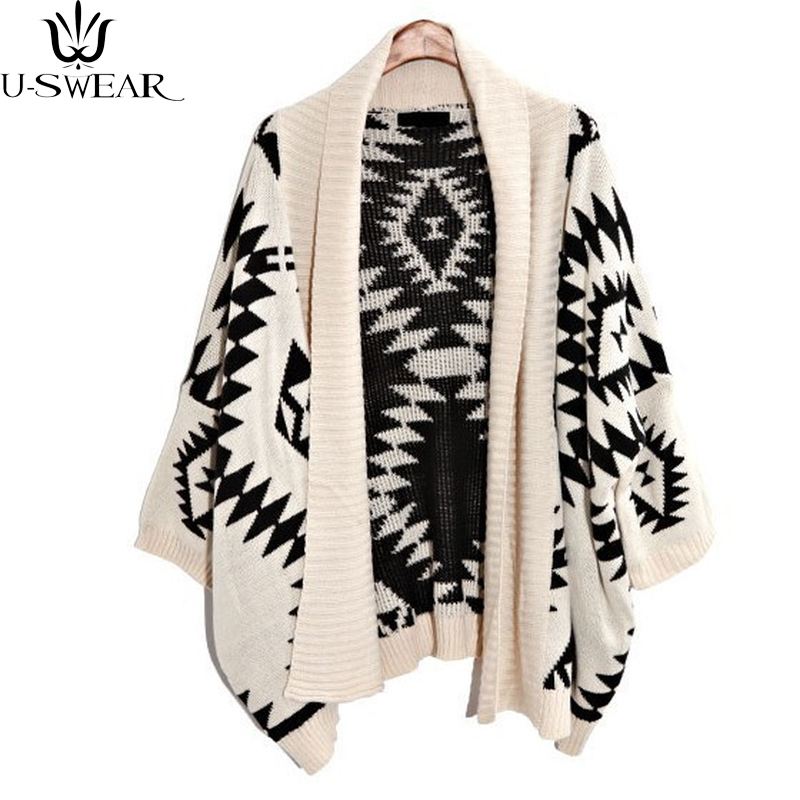 Autumn Winter Knit Cardigan Women Loose Sweater Shawl Long Diamond Geometric Patterns Jumper Vestidos 2018 New Cardigan Befree