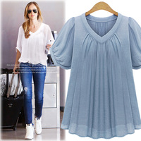 Summer New V Collar Short Sleeve Loose Chiffon Shirt Europe And America Show Thin Pure