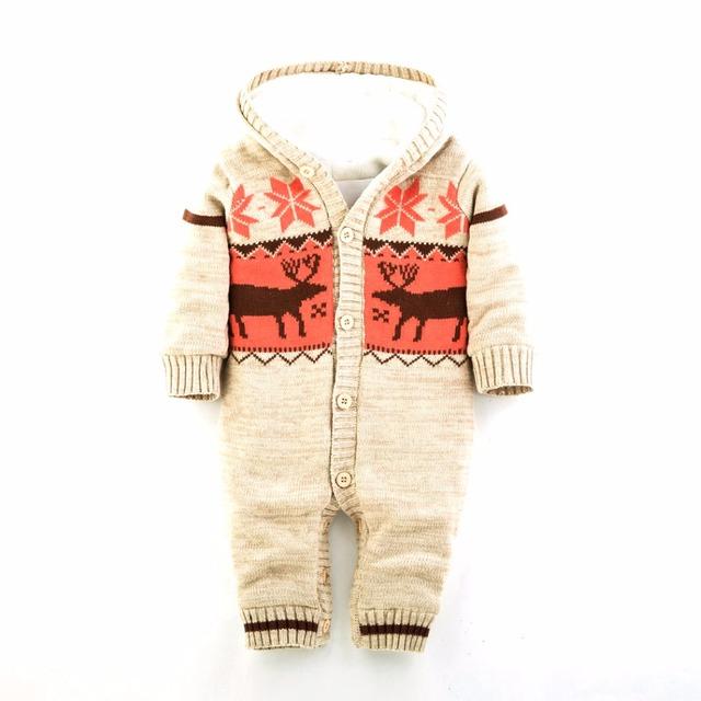 3 cor feliz natal macacão de bebê Romper veados alce bebê menino recém-nascido roupa do bebê com capuz Jumpsuit Romper inverno bebê aquecido