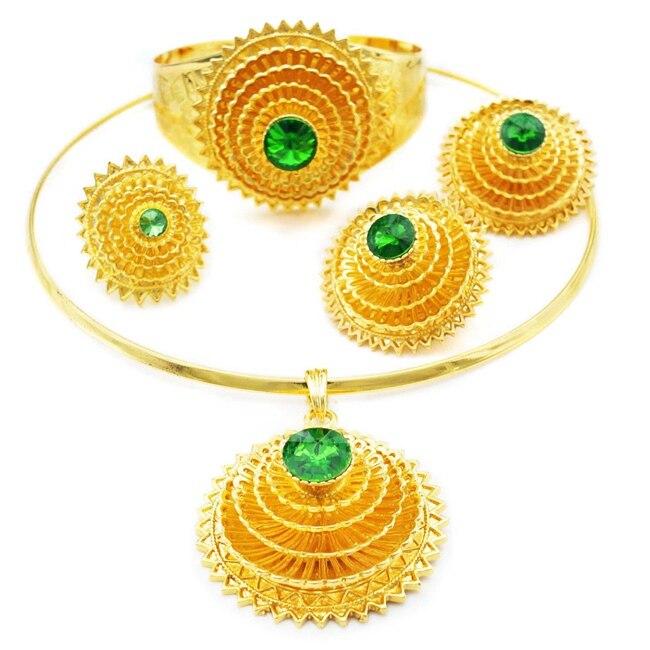 YULAILI bijoux éthiopiens ensembles couleur or pur bijoux africains ethiopie mariage mariée Habesha ensembles dames accessoires